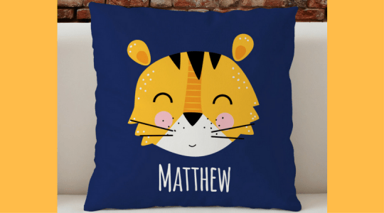 personalized kids room decor tiger blue pillow