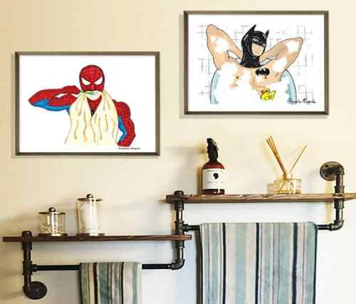 bathroom superhero prints