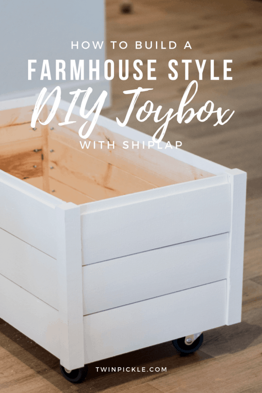 How to build a farmhouse style DIY toy box with shiplap pin