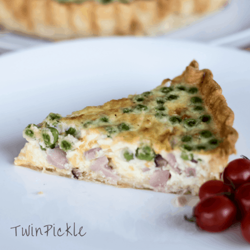 Simple Family Friendly Ham & Pea Quiche Slice