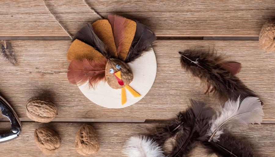 Simple Hanging Thanksgiving Walnut Turkey Craft