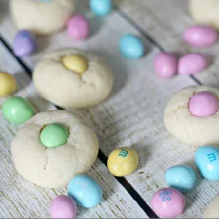 easter m&m thumbprint cookies