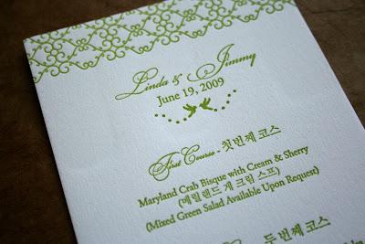 Beautiful Bilingual Korean English Wedding Menus Thank