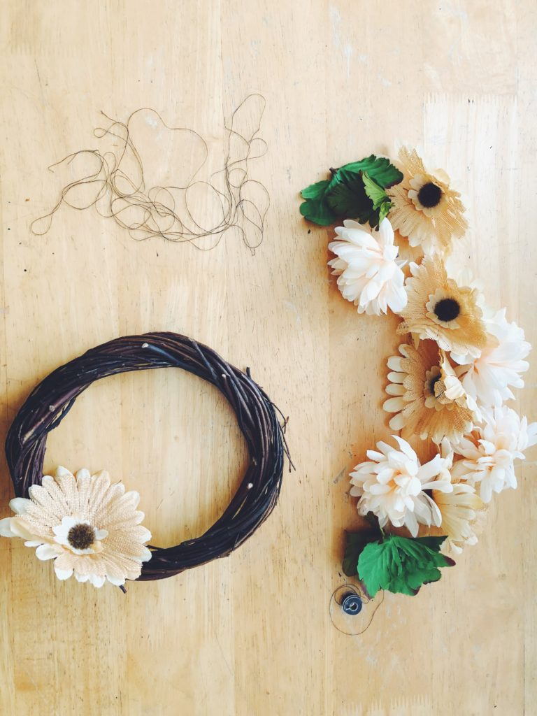 Cheap and easy DIY dollar store fall wreath, perfect for beginners!