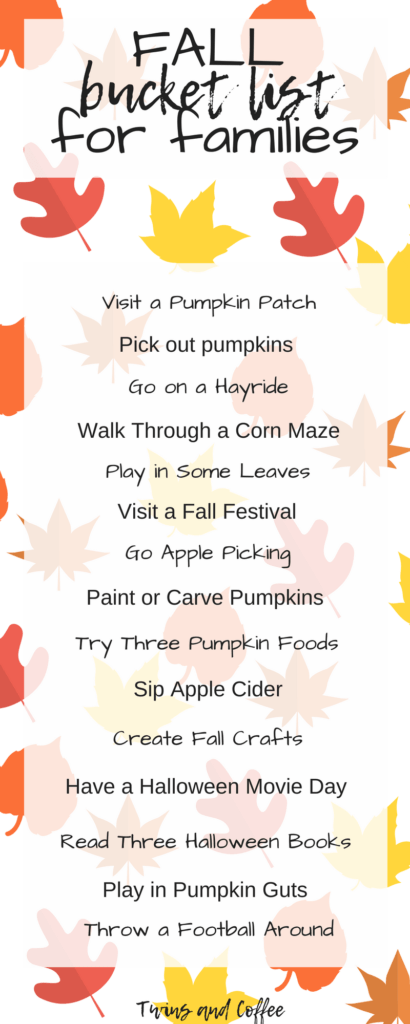 the ideal fall bucket list for families with kids, toddlers or babies. Things to do perfect for fall with a free printable!