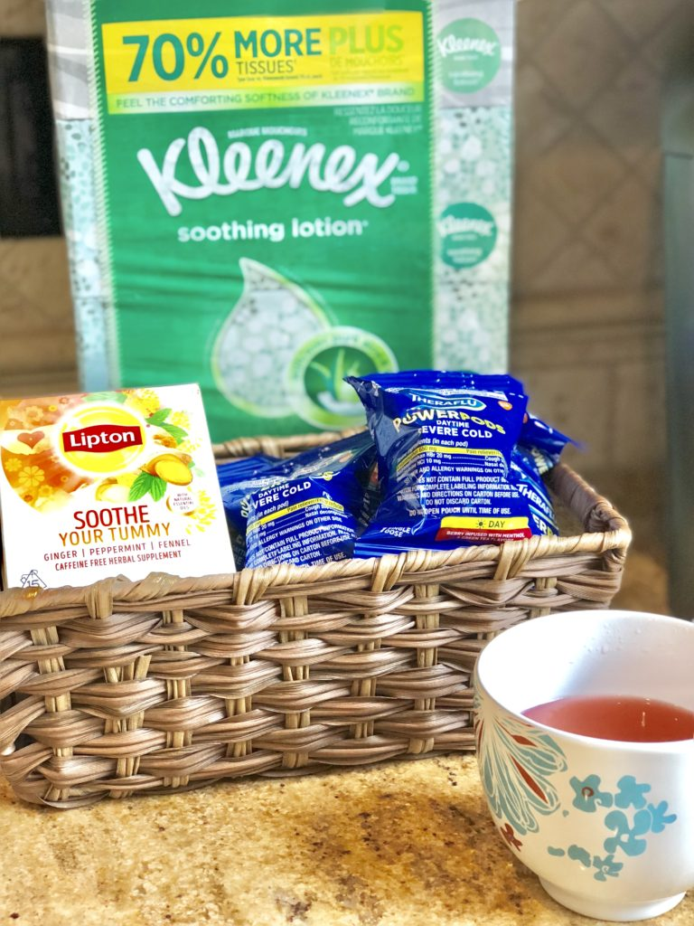 tips and hacks for cold and flu season as a new mom of babies and toddlers. How to stay on top during cold and flu season with theraflu, lipton, and kleenex #FluSeasonHacks