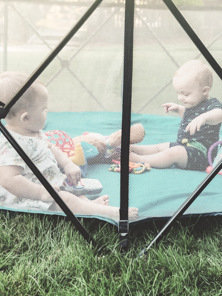 Play yard ideas for baby and toddler with DIY ball pit option. If you have a play yard, you need to read this post of ten creative ways to use your play yard at the beach, camping, in a hotel, outdoors, in the backyard and more! #toddleractivities #toddlerplay #babyplay #babyactivities #musthaveproducts