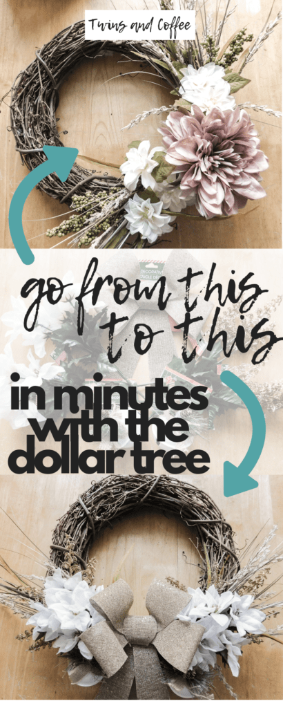 Dollar store DIY holiday decor wreath perfect for Christmas. Farmhouse DIY Christmas and holiday decorations from the dollar tree.