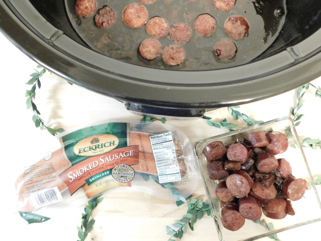 Keep the holidays simple this year with my make ahead sweet ad tangy teriyaki sausage appetizer featuring Eckrich Smoked Sausage