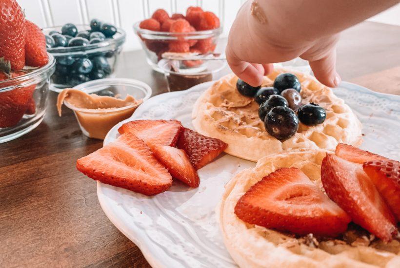 breakfast waffle taco bar