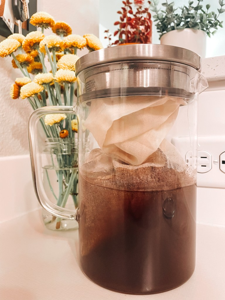 diy cold brew with cheesecloth at home