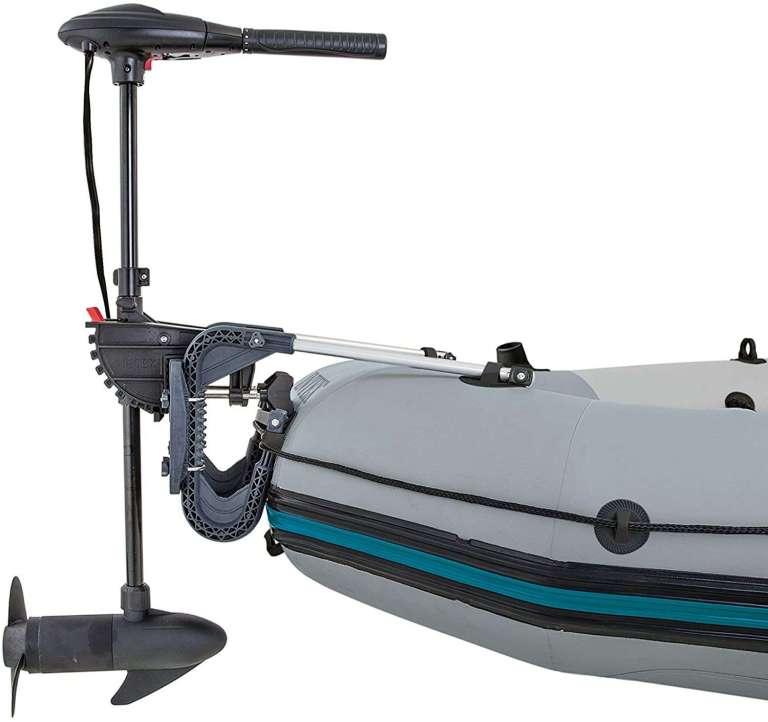 es motor para barco pequeño Intex 68631 - Motor fueraborda eléctrico 12V dc / 480w 8 marchas