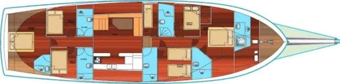 Esquema de la goleta. Vista desde arriba los camarotes, los baños, salon, cocina y cubierta