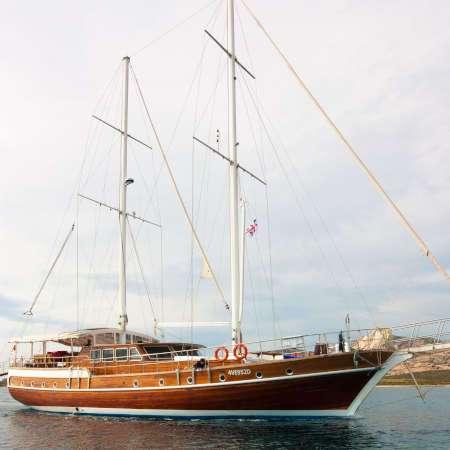 La Goleta Victoria navegando por el mediterraneo se alquila desde Cerdeña