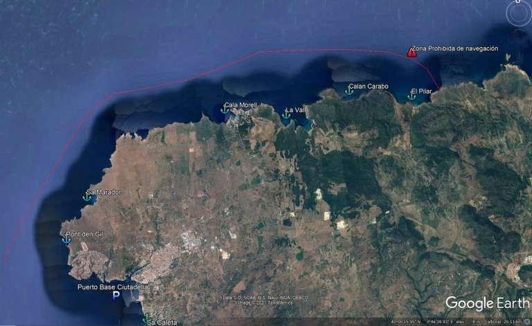Mapa de menorca de la zona norte donde se limita la navegación hasta cala pilar