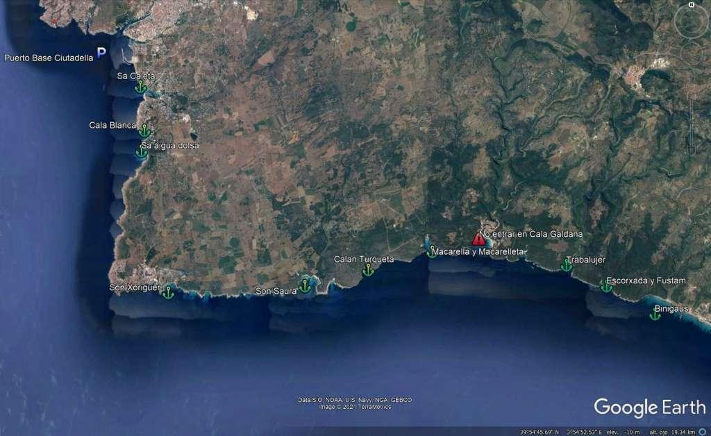 Mapa de las playas del norte de menorca. (Son Saura, Es Talaier, Calan Turqueta, Macarella y Macarelleta, Cala Galdana, Trabaluger, Cala escorxada, Cala Fustam y Binigaus)