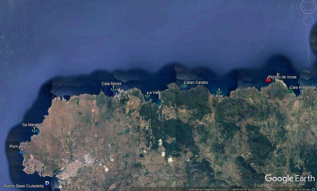 Mapa de las playas del norte de menorca. (cala morell, la Vall, Cala Pilar, Cala Pregonda)