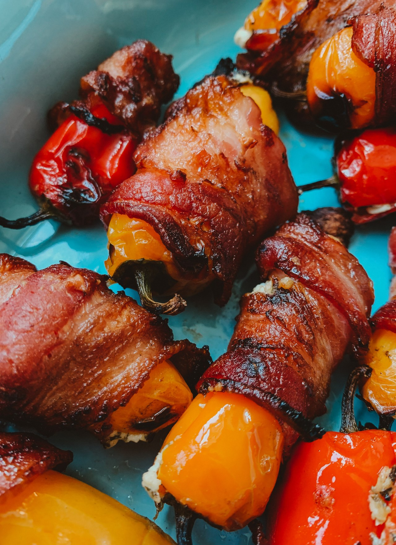 Bacon Wrapped Goat Cheese Pepper Poppers