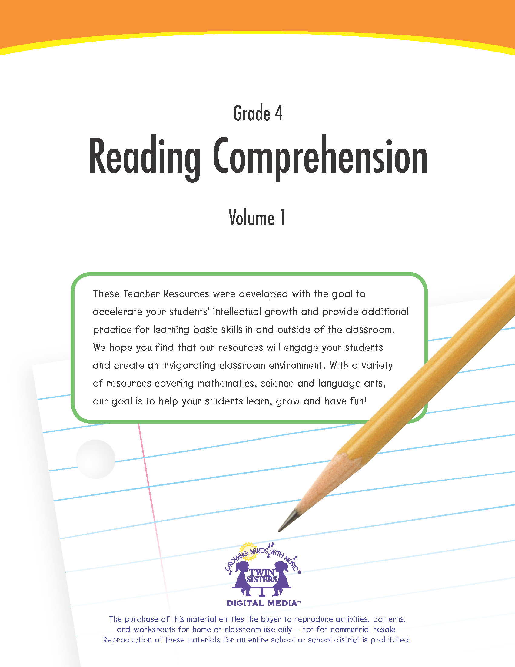 Grade 4 Reading Comprehension Volume 1