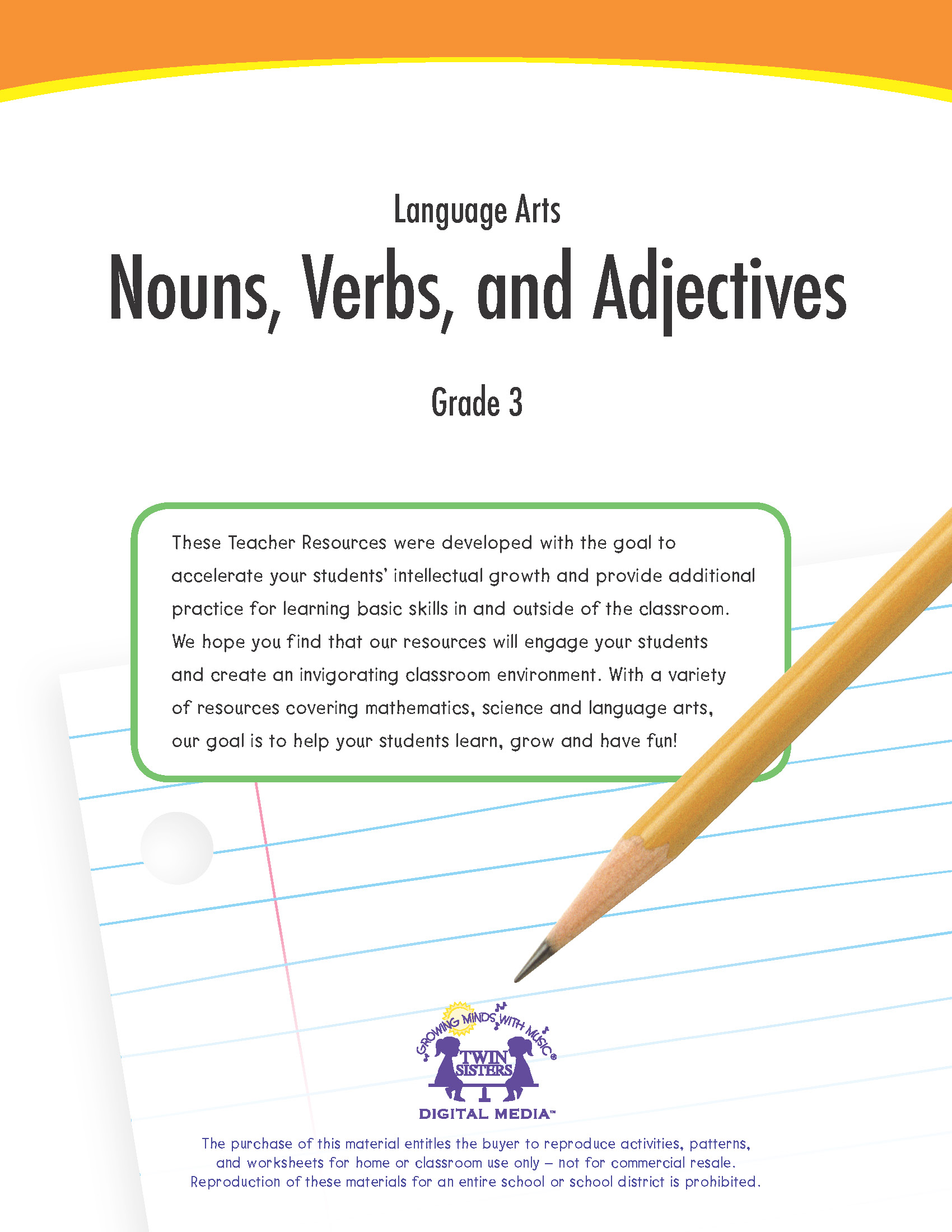 Language Arts Grade 3 Nouns Verbs And Adjectives