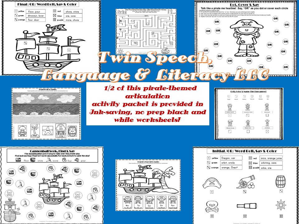 PirateThemed Postvocalic R Packet OR Words Twin Speech – Vocalic R Worksheets