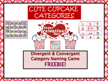 Cute Cupcake Divergent & Convergent Category Naming Game FREEBIE