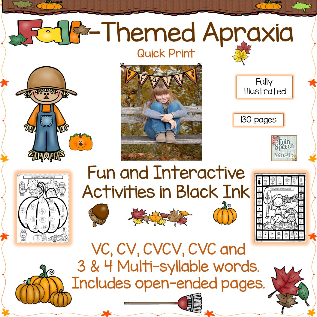 Fall-themed Apraxia Document Targeting VC, CV, CVCV, CVC, 3-4 SYLLABLE WORDS