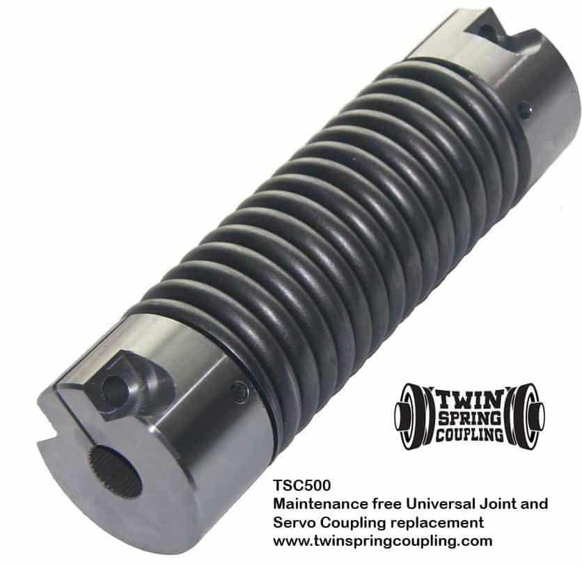 Twin Spring coupling TSC500 flexible coupling replaces universal joints, servo, beam, bellows and elastomeric couplings
