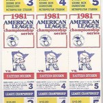 1981 Twins phantom ALCS tickets. Click on the tickets to see the full image.