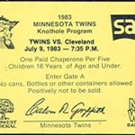 !983 Twins Knothole program ticket. Click on the ticket to see the full image.