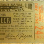 A rain check stub for a $6 De Luxe Box for game against the Orioles. Not sure what a De Luxe Box seat was since it is not in the normal ticket price listing. Click on the ticket to see the full image.