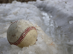 baseball in the snow