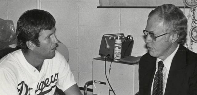 Tommy John and Dr. Frank Jobe in 1974