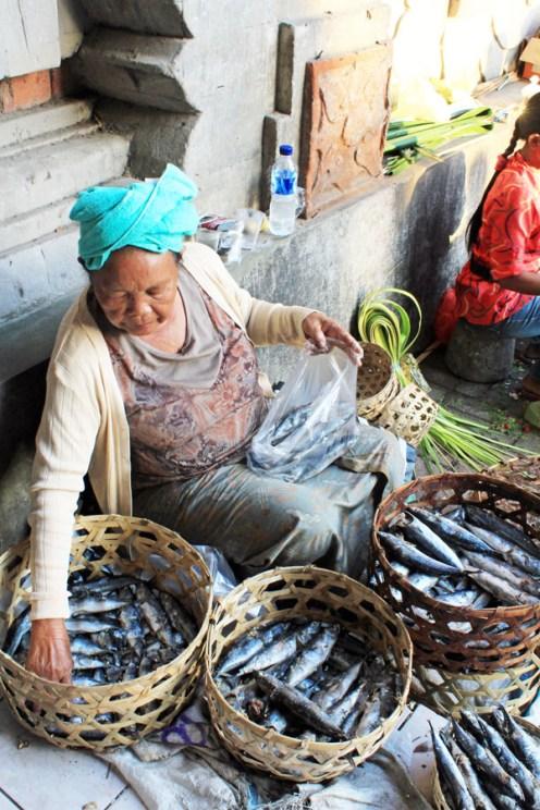 Fish seller, Ubud market, Bali