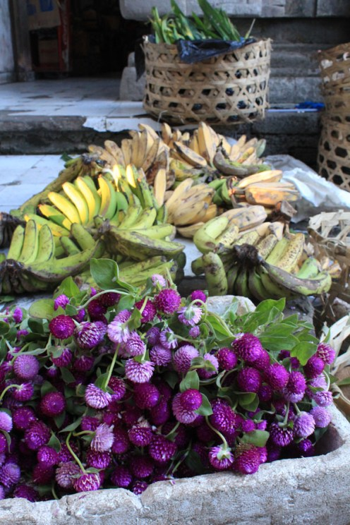 Flowers and bananas, Ubud market, Bali