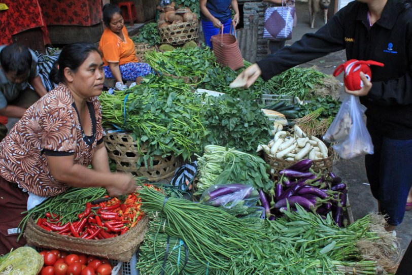 Vegetable seller, Ubud market, Bali