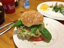 Homemade veggie burgers.