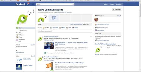 Facebook Fan Page for Twirp Communications in Page Mode