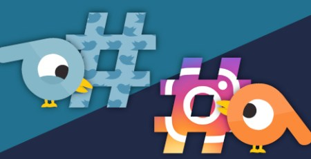 hashtags on Twitter and Instagram graphic