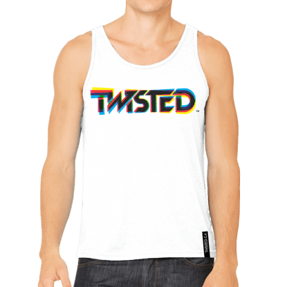 Men's Tank - White w/ Multicoloured Logo