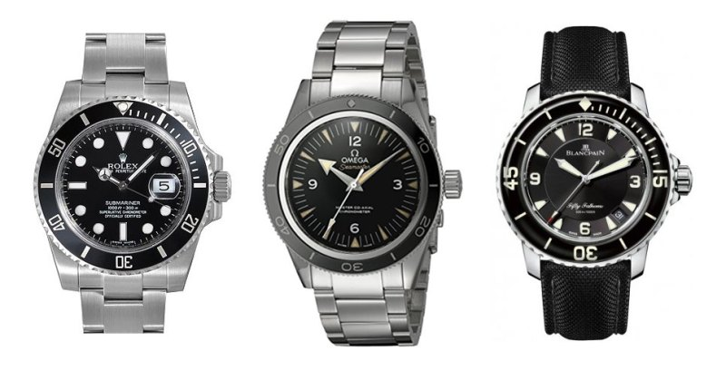 Rolex Submariner, Omega Seamaster, Blancpain Fifty Fathoms.