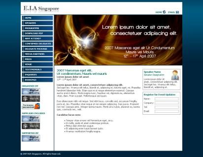 Web design mockup for E.I.A. Singapore
