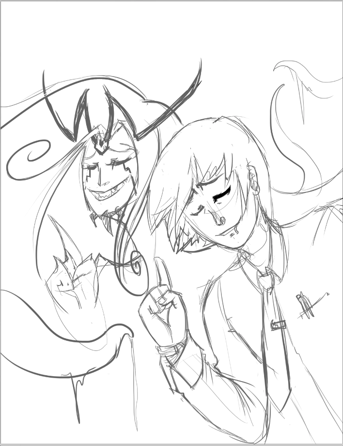 An old concept of Nata, the alien virus, and Jake, his host.