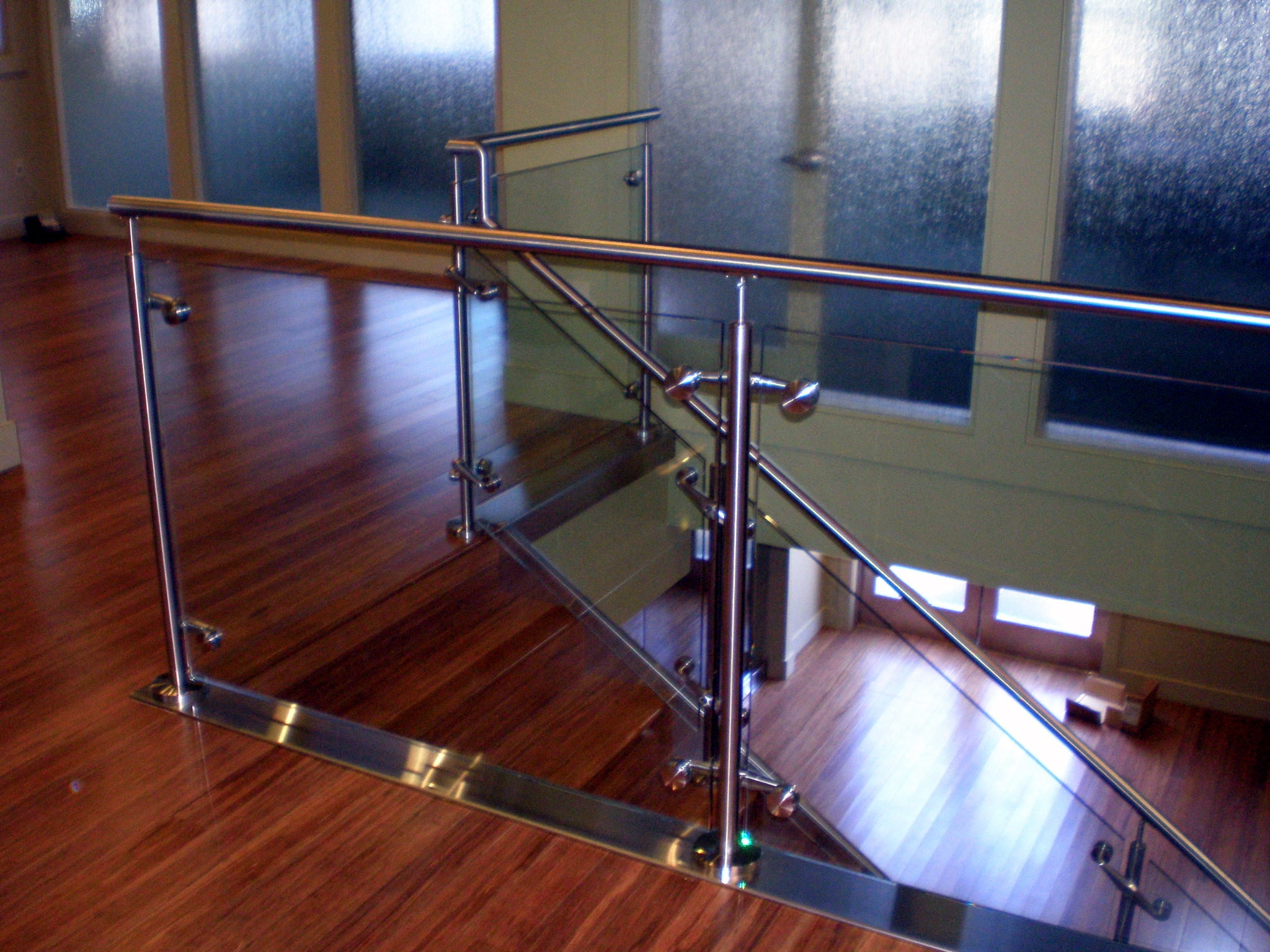 Twisted Metal Of Sacramento | Steel Railing With Glass For Stairs