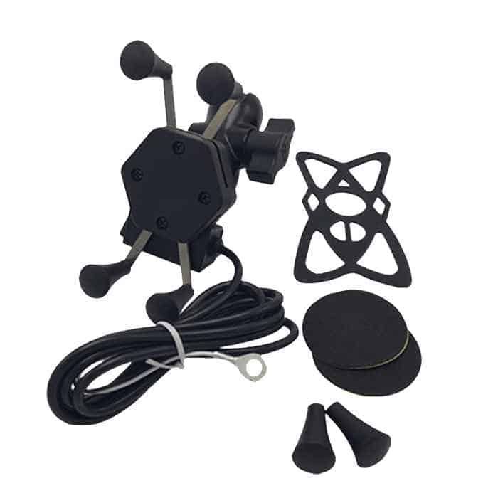 Motorcycle Phone Holder With Integrated USB Charger