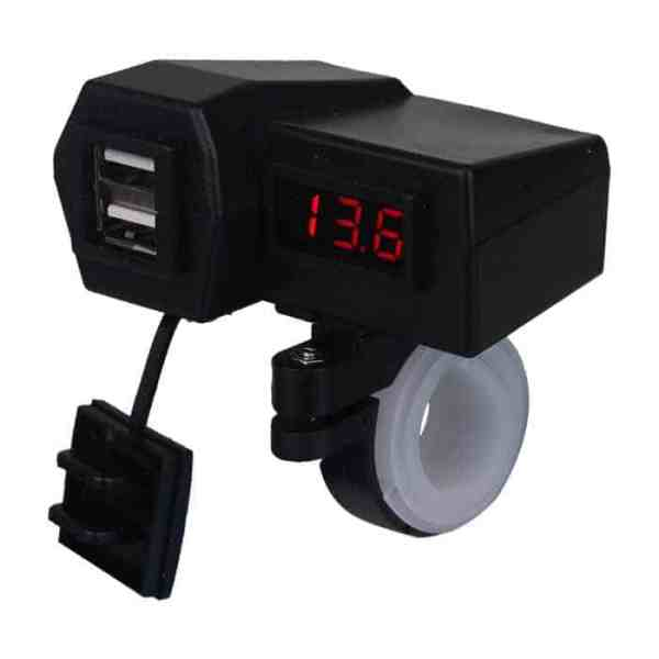 USB Charger with 2 USB Ports and Battery Volt Meter