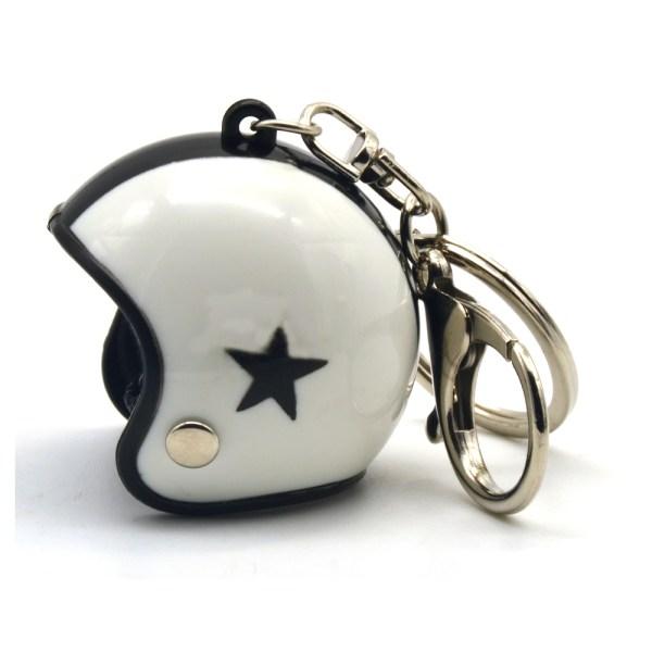 Helmet Keyring - White | Black Stripe