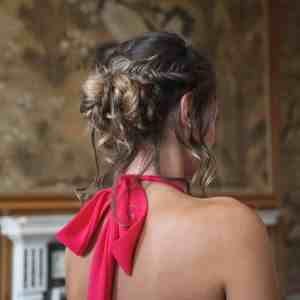 Rear shot of a bridesmaids up-do