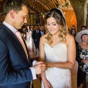 Groom sliding the wedding ring on his brides finger
