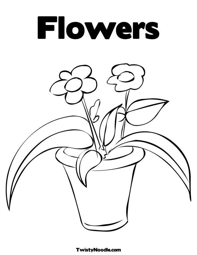 coloring flower page pot free coloring pages